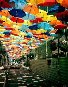Floating Umbrellas in Portugal:-  During the month of July, you can see thousands of colorful umbrellas floating above the streets in #Águeda city of #Portugal.   #floatingumbrellas