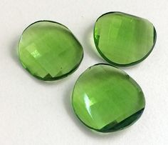 Peridot Green Colored Glass Fancy Stones Round by gemsforjewels
