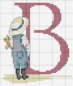 All Our Yesterday's Cross Stitch Chart - B Cross Stitch Letters, Cross Stitch For Kids, Cross Stitch Boards, Cross Stitch Heart, Cross Stitching, Cross Stitch Embroidery, Alphabet Images, Baby Kind, Stitch Patterns