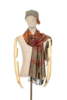 Unisex Striped Scarf Thai Silk & Cotton Scarves Tan Woven Shawl Wrap Long HOT S #Handmade #ShawlWrap
