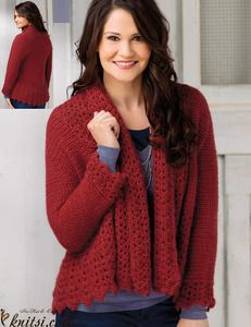 Cardigan crochet pattern nstructions given fit size small; changes for medium/large, large, large/X-large, X-large, X-large/2X-large and 2X-large are in [ ].