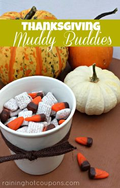 Thanksgiving (or Halloween) Muddy Buddies #holidayentertaining #thanksgiving #givingthanks #november #holidays #thanksgivingideas #thanksgivingcrafts #thankful #thanks #thanksgivingrecipes www.gmichaelsalon... #diy #crafting #recipes #forthehome #holidaydecorating #holidaydecor #harvest #autumn