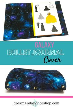 Make your plans in this galaxy bullet journal cover! it's lightweight and can hold several different journals in one place. Diy Notebook, Notebook Covers, Journal Covers, Handmade Notebook, Types Of Planners, Day Planners, Fabric Journals, Art Journals, Memory Journal