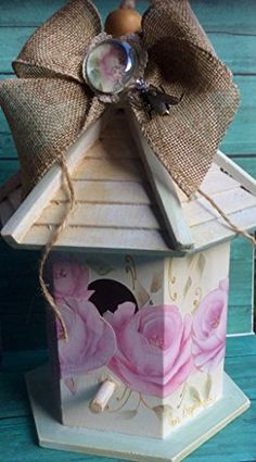 Shabby Chic Birdhouse Collage hand painted roses burlap bow with brass fly embellishment *** Click the VISIT button to enter the website