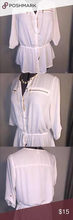 Lane Bryant Sheer Button Down Blouse Cinch Waist Lane Bryant Sheer Button Up Blouse Cinched Waist. Sz 14/16. Accented with gold buttons and gold zippers. Hidden button up. Cinched waist. Gorgeous top. Small hole right breast zipper. See photo. Lane Bryant Tops Button Down Shirts
