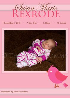Printable Pink Bird Baby Girl Birth Announcement by ThePhotoMommy, $10.00