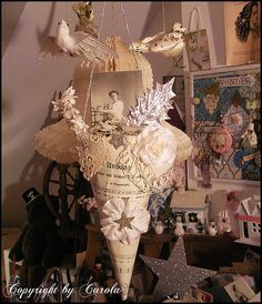 Vintage sheet music cone ~ Ann Perry style