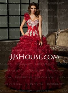 Quinceanera Dresses - $246.99 - Ball-Gown One-Shoulder Floor-Length Organza Satin Quinceanera Dress With Embroidered Ruffle Beading Sequins (021020578) http://jjshouse.com/Ball-Gown-One-Shoulder-Floor-Length-Organza-Satin-Quinceanera-Dress-With-Embroidered-Ruffle-Beading-Sequins-021020578-g20578