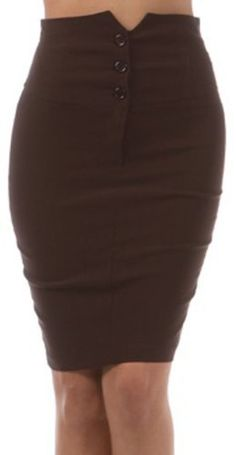 Knee Length High Waist Stretch Pencil Skirt $25.00