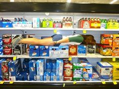 meijer's beer section: planked.  #beer #plank #planking #funny #meijer #women drinking beer #beer girls #women and beer #drinking beer