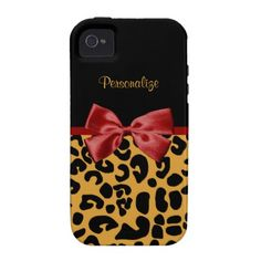 Trendy Black And Gold Leopard Print Red Ribbon Case-Mate iPhone 4 Cover