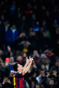 Lionel Messi of FC Barcelona celebrates after scoring his team's fourth goal during the Copa del Rey round of 16 first leg match between FC Barcelona and Getafe CF at Camp Nou on January 8, 2014 in Barcelona, Catalonia.
