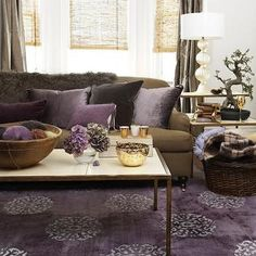 gray and purple living rooms ideas | Grey & Purple Modern Living ...