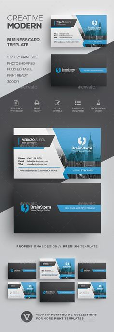 Buy Creative Modern Business Card Template by verazo on GraphicRiver. Need more high quality business card? View my Business Card Templates Collection OR Save Money! High Quality Business Cards, Buy Business Cards, Business Card Maker, Elegant Business Cards, Business Card Design, Web Design, Design Cars, Creative Design, Graphic Design