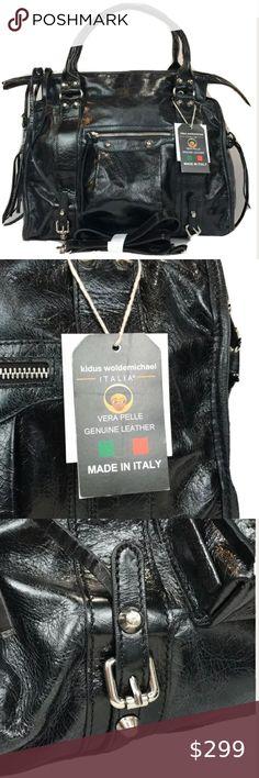Pulicati Vacchetta Italian Genuine Leather Satchel Handbag Purse NEW with Tags
