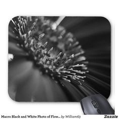 Macro Black and White Photo of Flower Mouse Pad