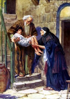 1 Kings 17 Bible Pictures: Elijah with the widow's Son