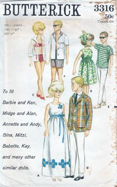"Vintage Orig 11 5"" Barbie Midge Ken Doll Clothes Pattern 3316  "