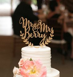 Custom wedding cake topper personalized cake topper rustic