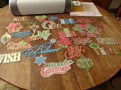 A collection of Cricut cuts from 'Anna Griffin Winter Wonderland' ready for making cards!
