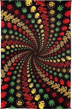 3-D Cheech & Chong Rasta Spiral Tapestry 60x90