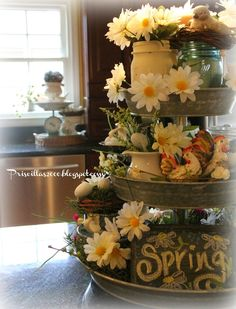 Daisies and Transferware Tiered Tray : Good morning ! Hope you all had wonderful fun weekends! I changed up the galvanized tiered tray in the kitchen this weekend . Country Decor, Farmhouse Decor, Galvanized Tiered Tray, Seasonal Decor, Holiday Decor, Tiered Stand, Centerpieces, Table Decorations, Tray Decor