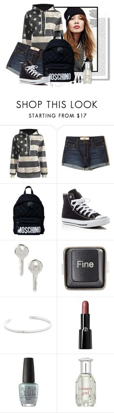 """Girlfriend"" by spells-and-skulls ❤ liked on Polyvore featuring Oris, Hollister Co., Moschino, Converse, The Giving Keys, RecycRing, Le Gramme, Giorgio Armani, OPI and Tommy Hilfiger"