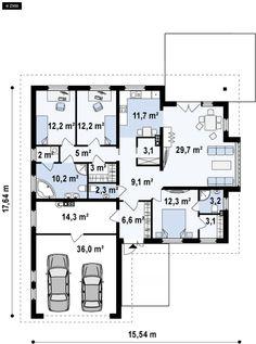 Projekt domu Z207. Parterowy dom z funkcjonalnym wnętrzem, wykuszem oraz z garażem na 2 auta Town House Plans, Minimal Home, Facade House, Modern House Design, Home Projects, Planer, Townhouse, My House, Minimalism