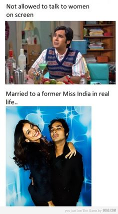 For the Big Bang Theory fans, RAJ!! I didn't know that..