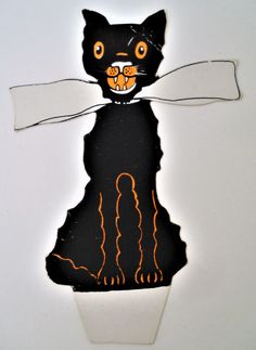 Vintage Halloween Whitney Black Cat Place Card Unused 1920's Nice!   eBay