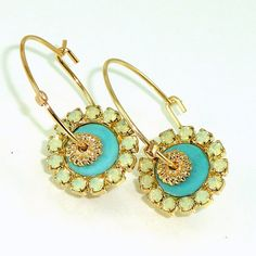Gold and Turquoise Hoop Earrings Turquoise & Mint by inbalmishan