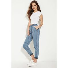 Forever 21 Women's Striped Boyfriend Jeans ($28) ❤ liked on Polyvore featuring jeans, white jeans, padded jeans, high waisted boyfriend jeans, cuff jeans and forever 21