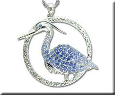 S/S Blue Heron Graduated Blue Sapphire Pendant