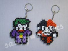 Harley Quinn & The Joker - KEYCHAIN Sprite Perler Bead Pixel Art Hanger, Car Hanger, Key chain, Wall Decor, Poster, Desktop