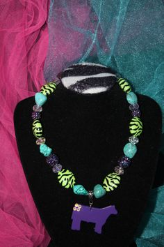 Sass N' Stones - Girls Lime Green Zebra, Turquoise, Purple with Purple Steer Pendant, $23.95 (http://sass-n--stones.mybigcommerce.com/girls-lime-green-zebra-turquoise-purple-with-purple-steer-pendant/)