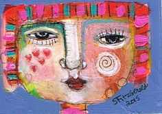 Mixed Media Painting Original Modern Folk Art ACEO by kittyjujube