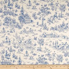 Kaufman Betsy's Basket Toile Indigo from @fabricdotcom  Designed by Darlene Zimmerman for Robert Kaufman, this cotton print is perfect for quilting, apparel and home decor accents. Colors include blue and cream.