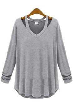 Light Grey Plain Hollow-out Long Sleeve Cotton T-Shirt