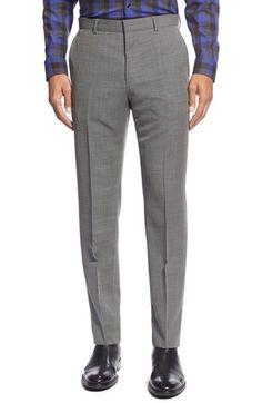 HUGO 'Hamen' Flat Front Solid Wool Trousers