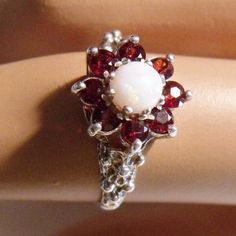 Garnet Opal Sterling Ring European Hallmarks Vintage Jewelry