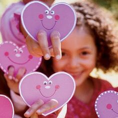 "Cute craft idea for Valentines Day :)  Heart finger puppets. Note to self- make these for February Sunday school lesson and write on heart ""love bears all things"""