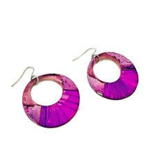 Excited to share this item from my #etsy shop: Hoop Dangle Earrings, Purple & Pink Statement Earrings, Polymer Clay Jewelry Painted with Alcohol Ink, 80s Earrings, African Tribal Jewelry