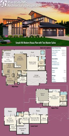 Architectural Designs Slam Hit Modern House Plan House Plan 85167MS gives you three levels of living, 2 master suites and over 3,400 square feet of heated living space. Ready when you are. Where do YOU want to build?