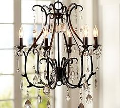 Chandeliers & Pendants | Pottery Barn  Crystals and ironwork, love it.