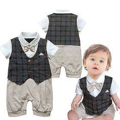 Baby Boy Toddler Plaids Jumpsuit Bowtie Tuxedo Vest Romper Outfit Overalls 0 -2Y dde704ffd6