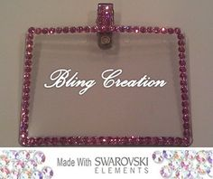 COLOR Swarovski Crystal Bling Name Badge/Tag Holder (Different colors to choose)