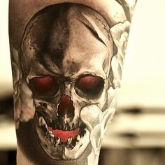 Skull Demon #Tattoo - unknown artist. I like the glowing red coming from the eyes, mouth and nose. NEXT