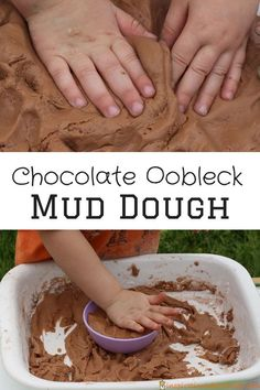 Chocolate oobleck mud dough is a taste safe play dough made from cornstarch. It has the squishy consistency of mud.