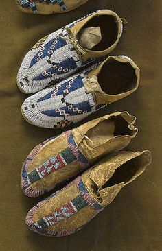 Two pairs of Arapaho child's beaded moccasins