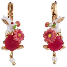 Les Néréides FANTASY GARDEN RABBIT AND STONE EARRINGS ($110) ❤ liked on Polyvore featuring jewelry, earrings, jewelry earrings, white pink green gold, pink earrings, green jewelry, white flower earrings, white stone earrings and white earrings